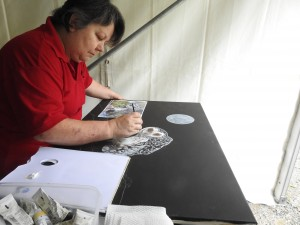 Sandra Temple painting sooty owl